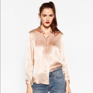 Zara Sateen Blouse with Back Detail